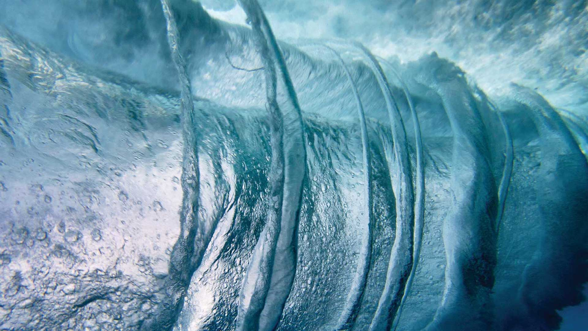 Powerful waves churning under water