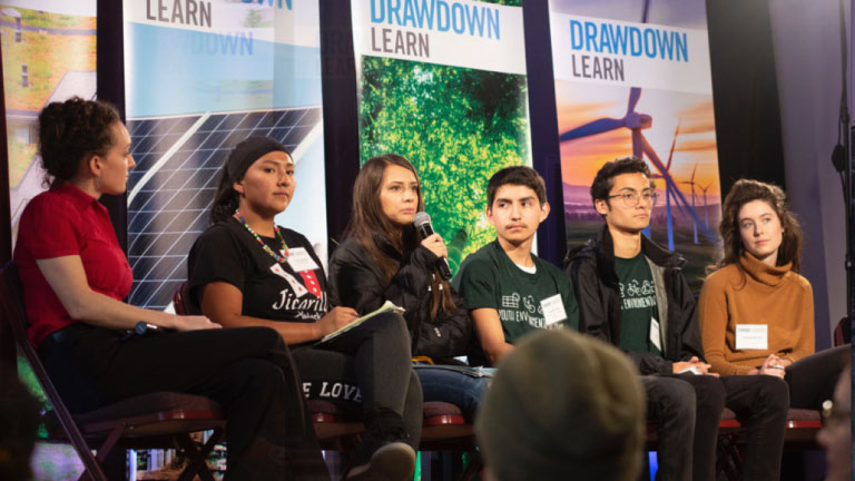 Students and teachers on a speaking panel at the Drawdown Learn conference.