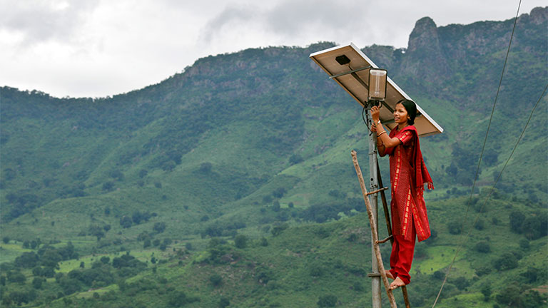 Barefoot solar engineer Minakshi Diwan in Tinginapu, in the Eastern Ghats of Orissa, India