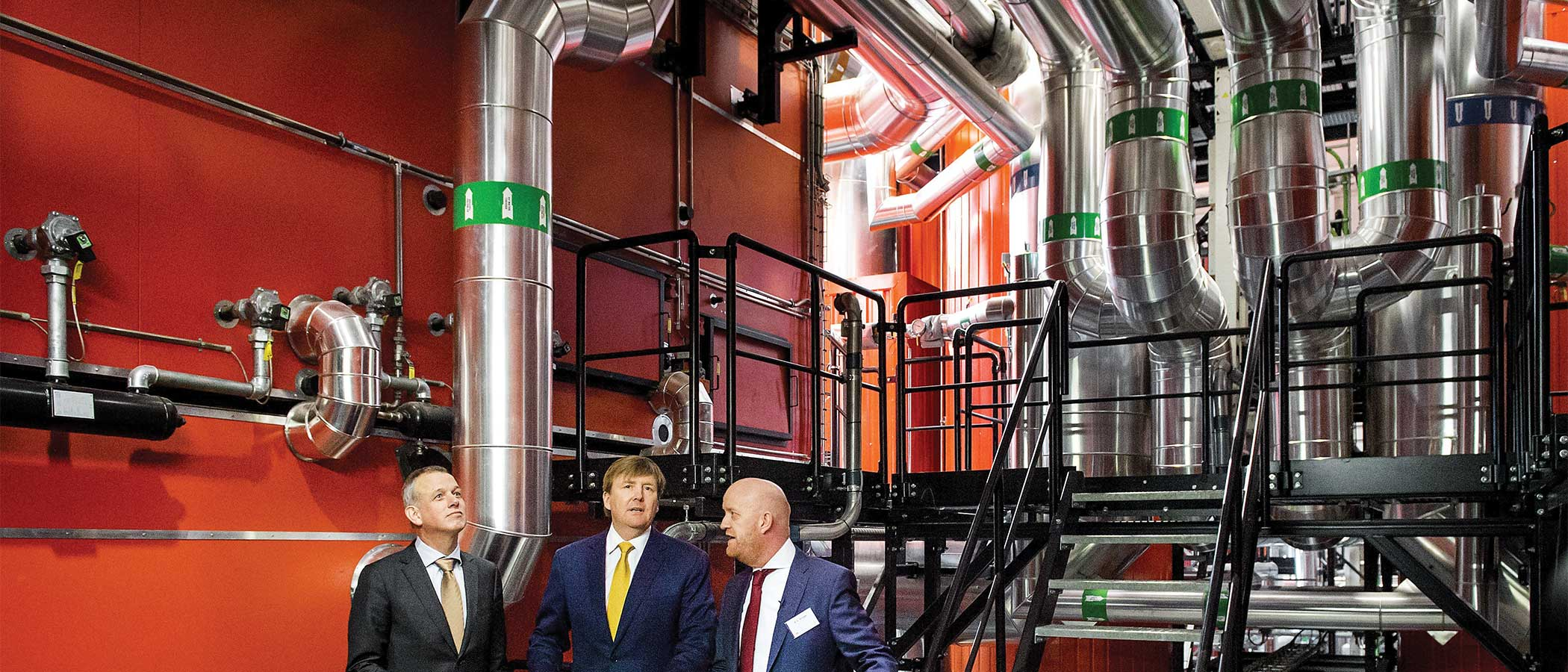 Dutch king Willem-Alexander attends the opening of BioWarmteCentrale (bioheating station) in Purmerend, the Netherlands.