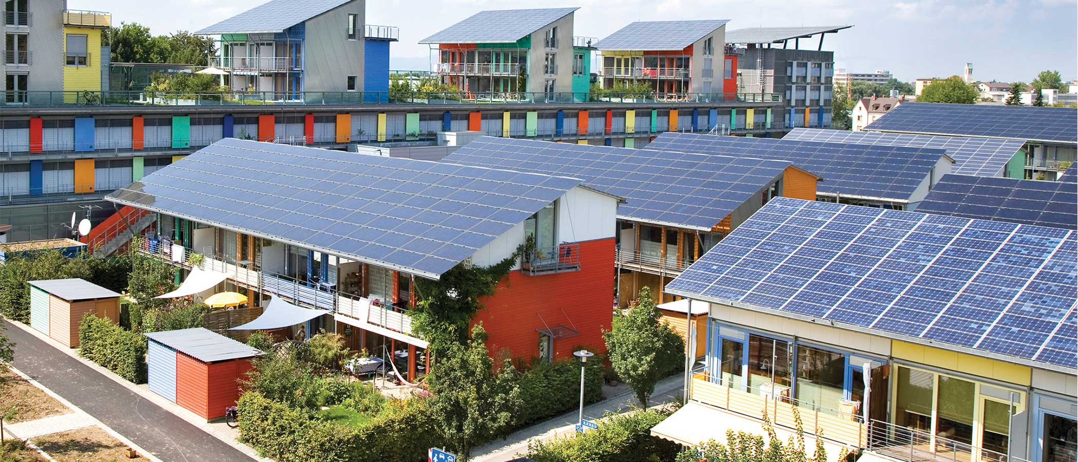 Solar Settlement, a 59-home community in Freiburg, Germany.