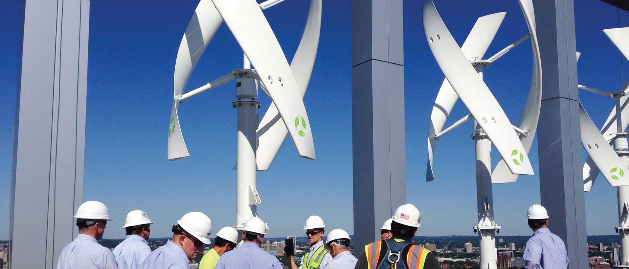 Micro wind turbines atop a building.
