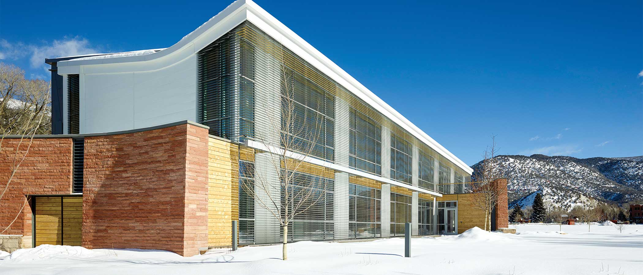 Exterior of Rocky mountain Institute building during winter.