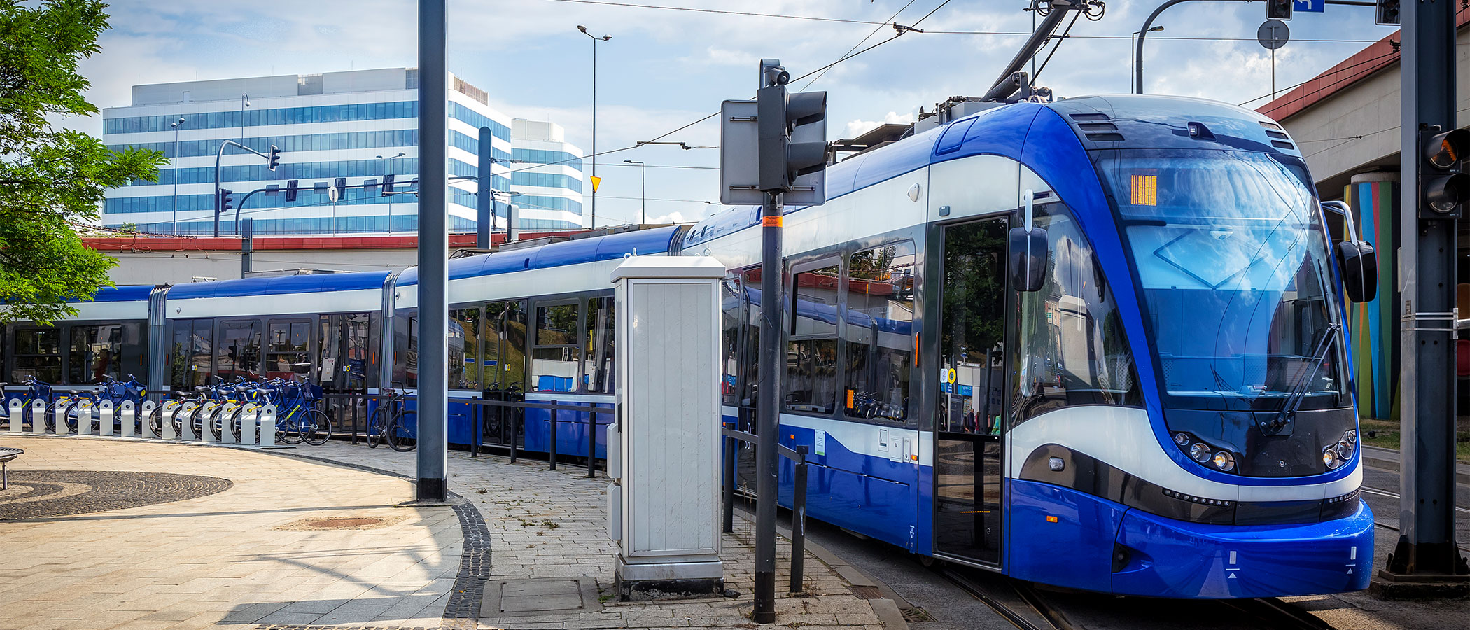 Light rail vehicle in Krakow, Poland