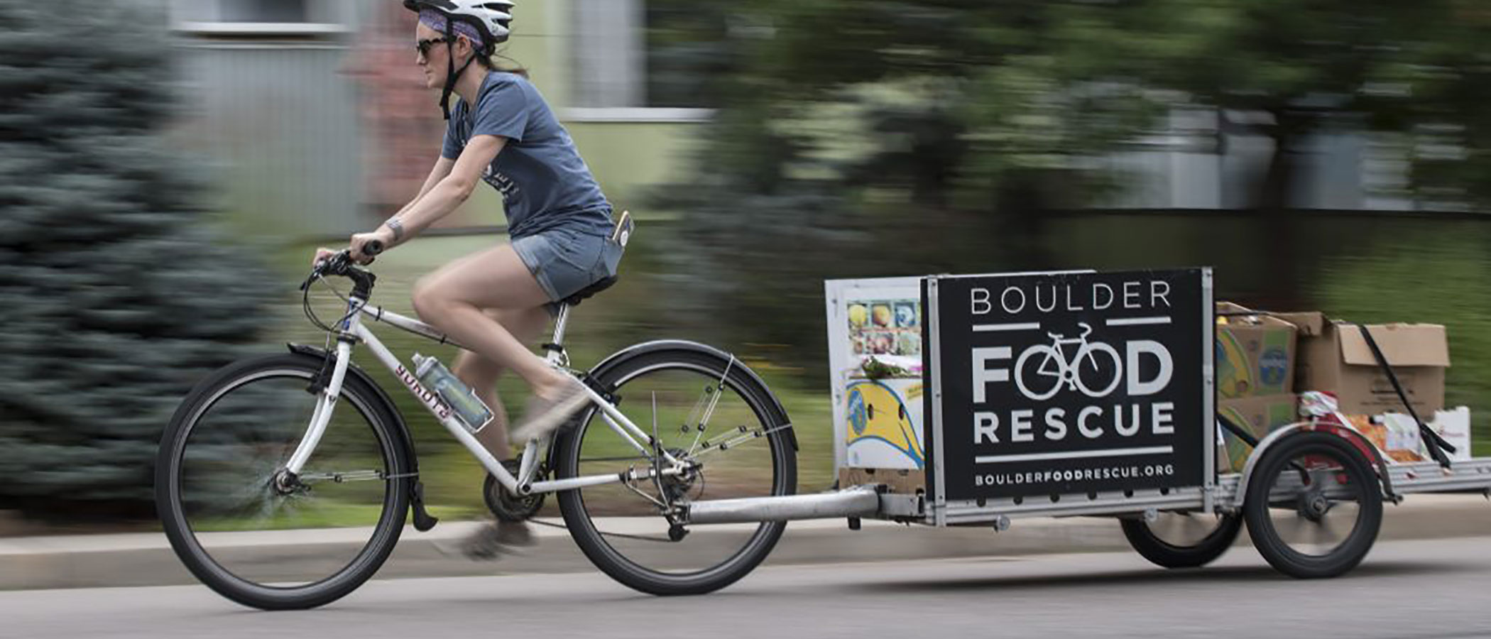 Boulder Food Rescue redistributes food to low-income communities by bicycle.